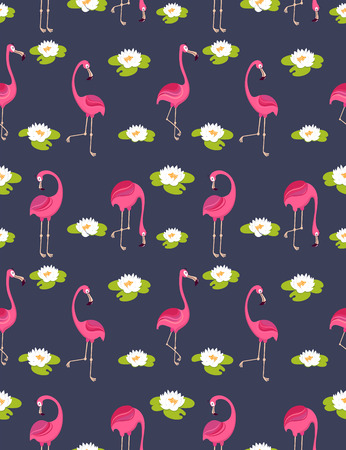 nenuphar: background .pattern with pink flamingos.