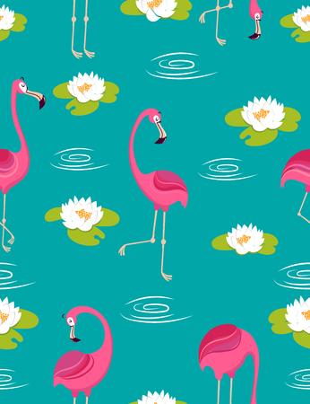 nenuphar: seamless pattern.background .pattern with pink flamingos.