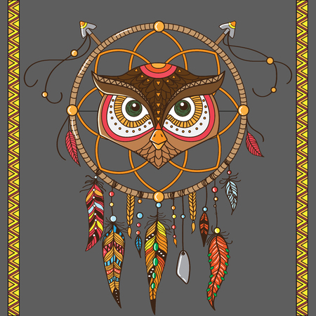 color tribal tattoo: dream catcher with owl. boho style. totem animal