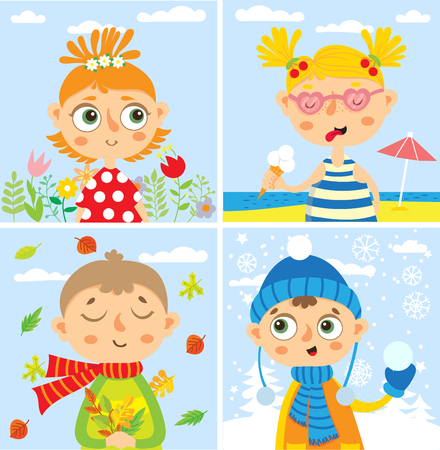 scarf beach: set with babies. four seasons. autumn, winter, spring, summer. Illustration