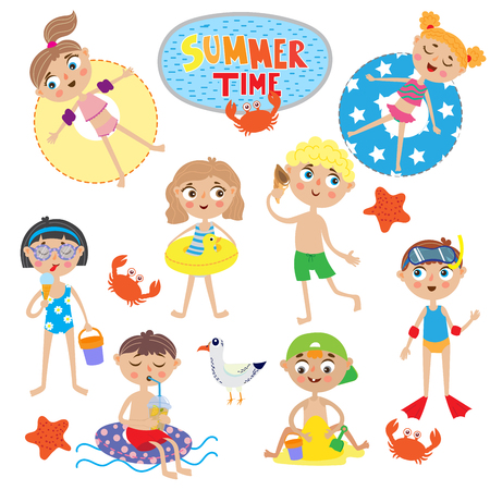 swimwear: set of cute kids on summer holidays. isolated on white background