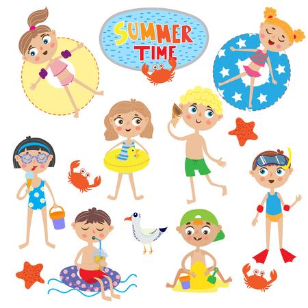 set of cute kids on summer holidays. isolated on white background
