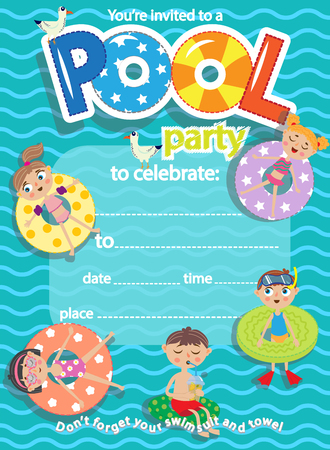 Pool party. Invitation template card. Kids fun in pool
