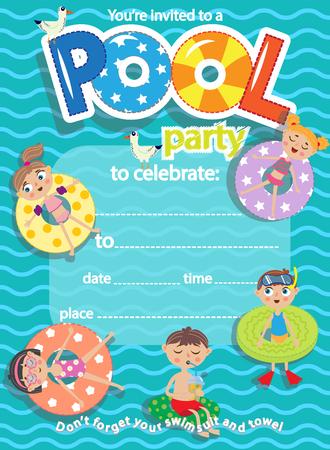 Soirée piscine. Carte de modèle d'invitation. Amusement des enfants dans la piscine