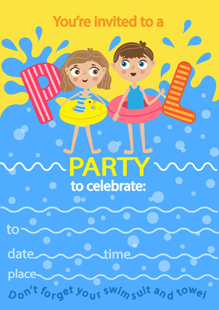Pool party. Invitation template card. Kids fun in pool Illustration