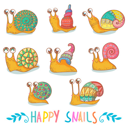 Set of cute snails. vector illustration. isolated on white background