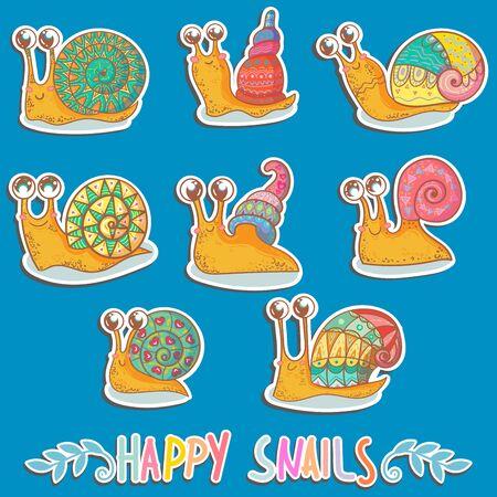 Set stickers of cute snails. vector illustration Illustration