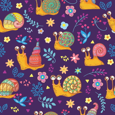 Seamless pattern with colorful snails in cartoon style. Vector illustration.