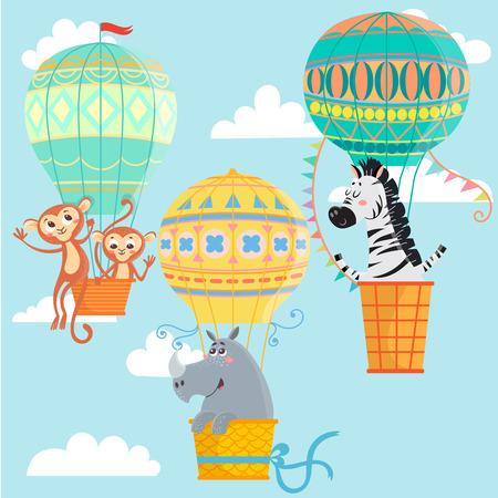 Hot air balloons with animals. Monkeys, rhinoceros and zebra. Vector illustration