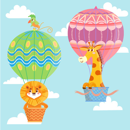 Hot air balloons with animals. Giraffe and lion. Vector illustration
