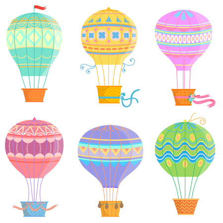 Set of colorful hot air balloon .Vector illustrations isolated on white background. Illustration