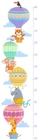 Kids height meter with animal. wall sticker. Tiger, monkey, rhinoceros and giraffe
