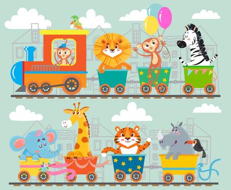 divertida del animal en el tren. ilustración vectorial Ilustración de vector