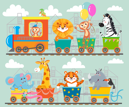 Funny animal on train. Vector illustration Illustration