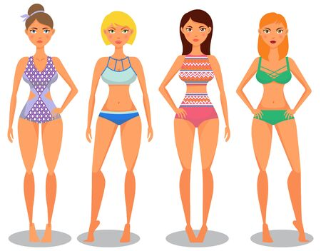 Swimsuit collection.Pretty girls in different swimsuit. Vector illustration Illustration