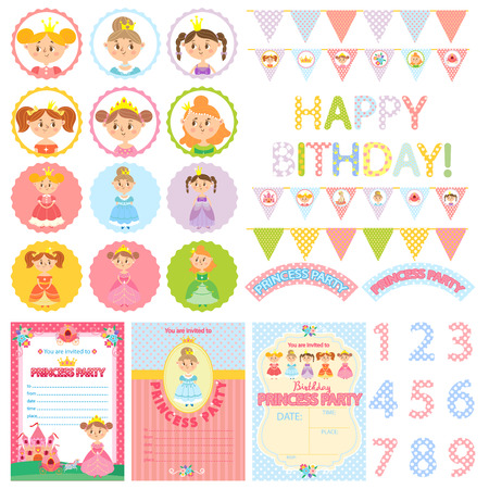 Princess Birthday Party. Set of pretty lady. Vector illustration. Party Package Illustration