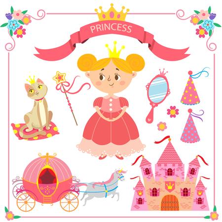 Vector illustration of pink princess. Set of items for princesses Illustration
