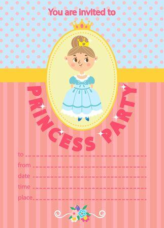 Princess Birthday Party. Invitation template card. Kids fun in pool