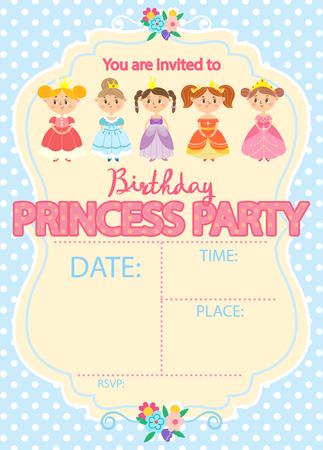 Princess Birthday Party. Invitation template card.