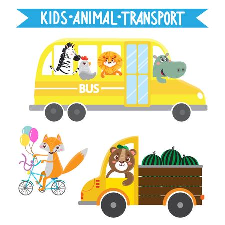 Funny animals on transport. Lion, zebra, bird, hippo, fox, bear. Vector illustration on white background. Kids cartoon.