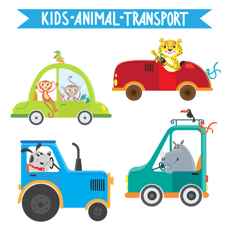 Funny animals on transport. Monkey, leopard, rhino, dog. Vector illustration on white background. Kids cartoon. Stock Vector - 69466905