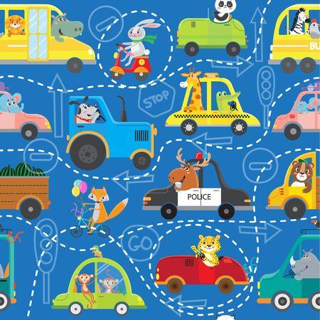 Funny animals on transport. Kids cartoon. Seamless pattern. Vector illustration