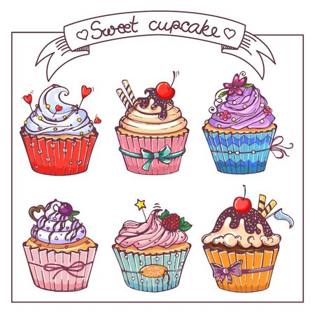 set with sweet cupcakes. hand-drawn illustration. Vector collection