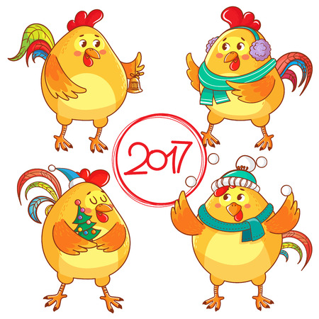 Vector set of funny rooster. rooster year 2017.  isolated on white background