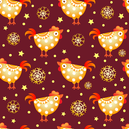 dcor: Seamless pattern with funny rooster. rooster year 2017.  Vector illustration