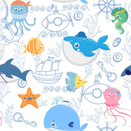 Nahtlose Muster mit lustigen Meerestieren. Nette Piraten. Vektor-Hintergrund Vektorgrafik