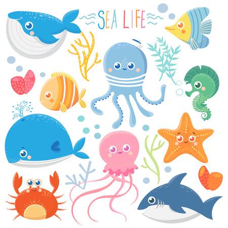 Funny sea animals. Vector collection