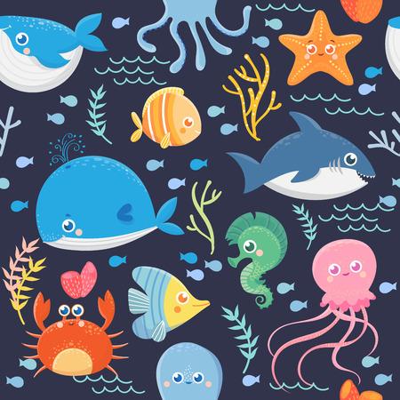 Seamless pattern of sea life. Funny sea animals.