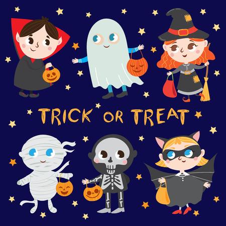 Halloween Kids. Funny Halloween costumes. trick or treat. Vector Set Illustration