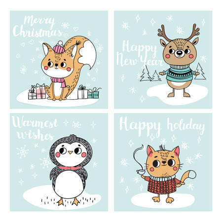 Funny Christmas personages. Christmas characters animals. Collection with Christmas cards Illustration
