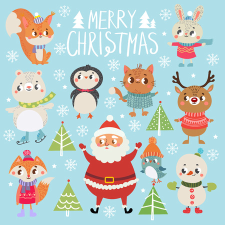 Set of funny Christmas personages. Christmas characters. Collection with cute animal
