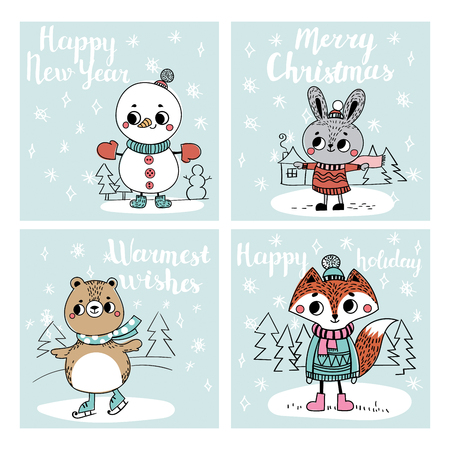 personages: Funny Christmas personages. Christmas characters animals. Collection with Christmas cards Illustration
