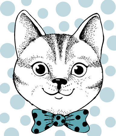 Cat in Bow. Hand drawn illustration. Cat portrait