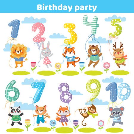 Birthday numbers with funny animals for invitation card