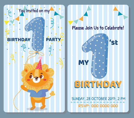 Birthday invitation card with cute animal. Birthday party. Lion
