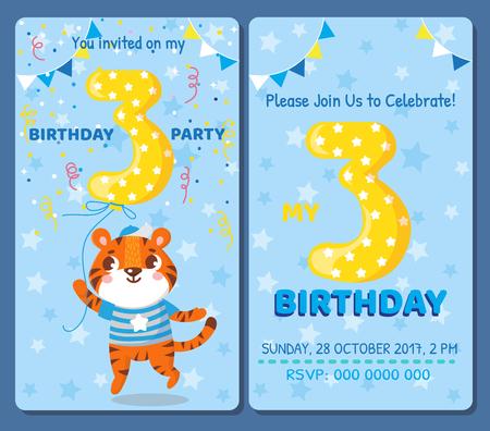 Birthday invitation card with cute animal. Birthday party. Tiger