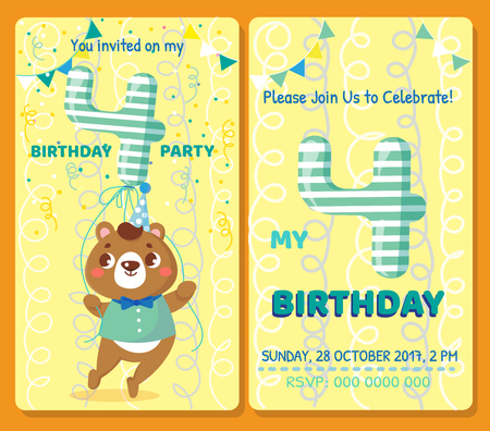 Birthday invitation card with cute animal. Birthday party. Bear Stock Vector - 70032878
