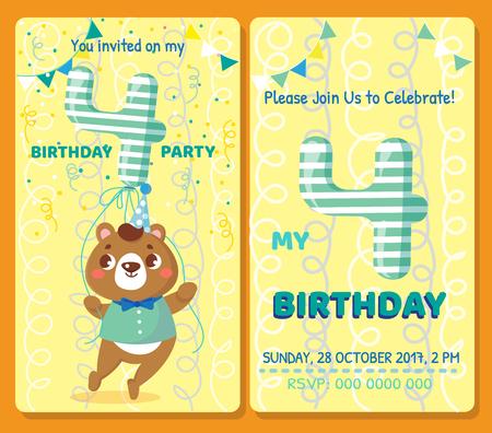 Birthday invitation card with cute animal. Birthday party. Bear Illustration
