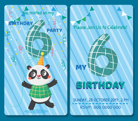 Birthday invitation card with cute animal. Birthday party. Panda