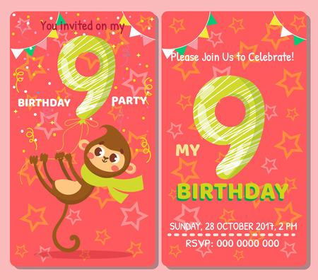 Birthday invitation card with cute animal. Birthday party. Monkey