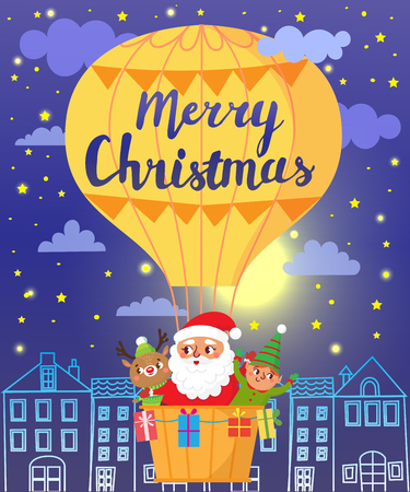 Merry Christmas. Santa Claus, deer and elf on hot air balloon. Greeting card. Vector illustration