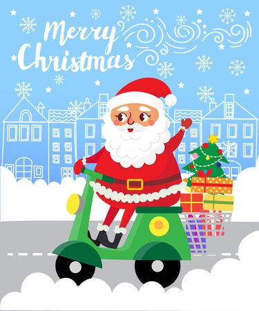 Merry Christmas. Santa Claus on scooter with gifts in city. Greeting card. Vector illustration Illustration