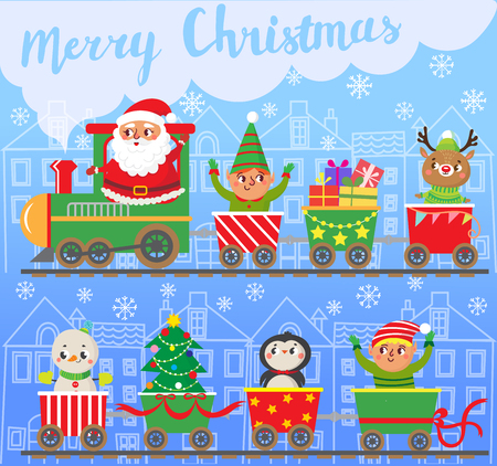 Merry Christmas and New year. Santa Claus on train with gifts. Snowman, elfs, penguin. Greeting card. Vector illustration Illustration