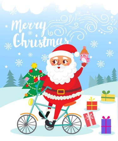 Merry Christmas. Santa Claus on bicycle with gifts . Greeting card. Vector illustration