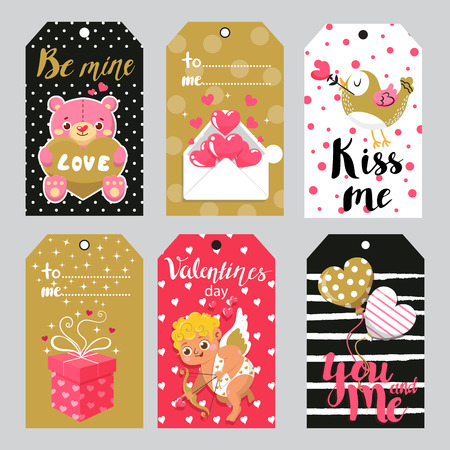 Set of label for Valentine`s day. Vector collection. Greeting cards