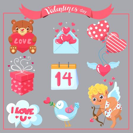 Set of Valentine`s day. Design elements Stock Vector - 70077152